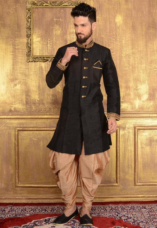 Plain Art Silk Sherwani in Black