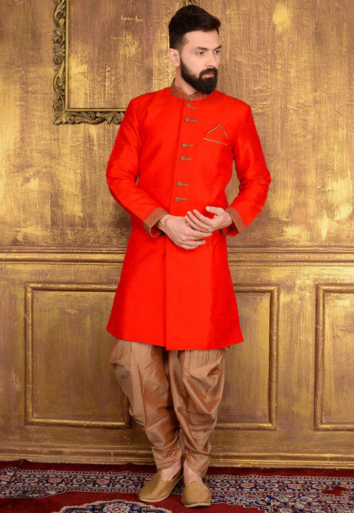 Plain Art Silk Sherwani in Coral Red