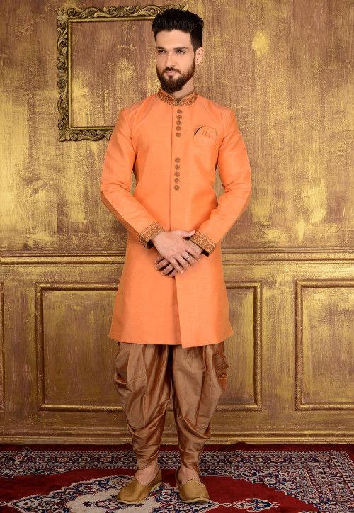 Plain Art Silk Sherwani in Pastel Orange
