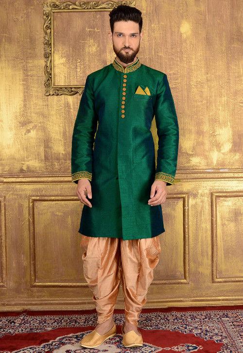 Plain Art Silk Sherwani in Teal Green