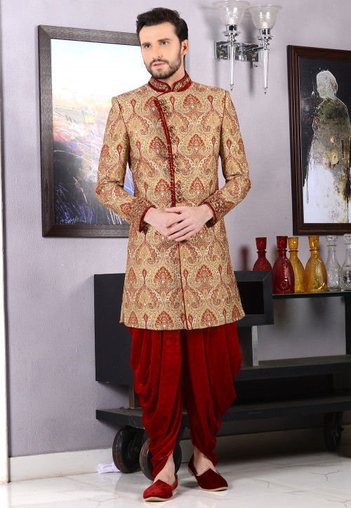 Hand Embroidered Brocade Sherwani in Beige