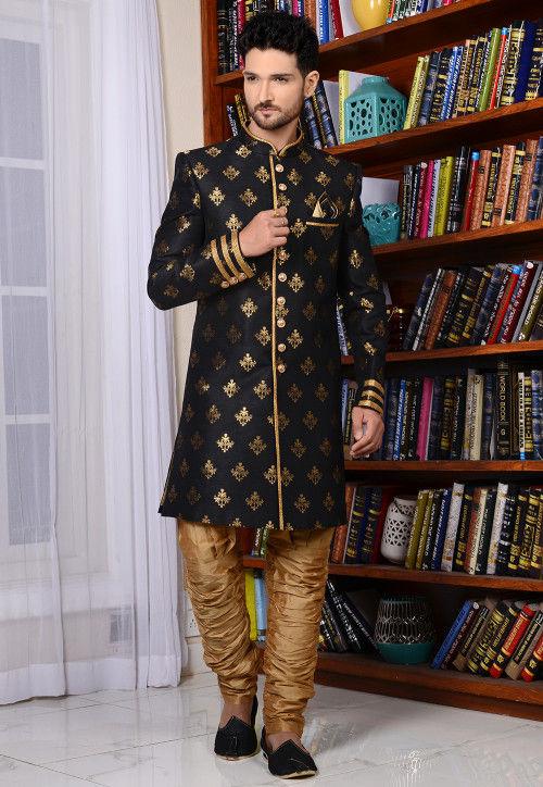 Woven Art Silk Sherwani in Black