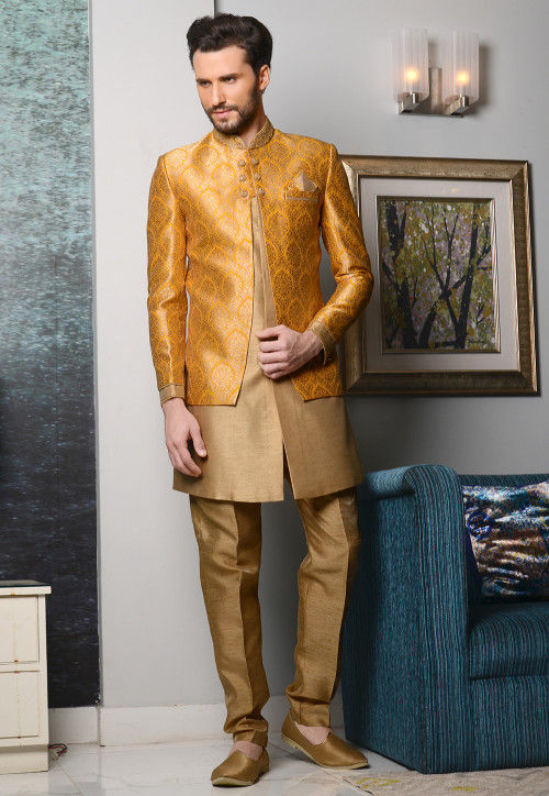 Woven Brocade Jacket Style Sherwani in Mustard and Beige