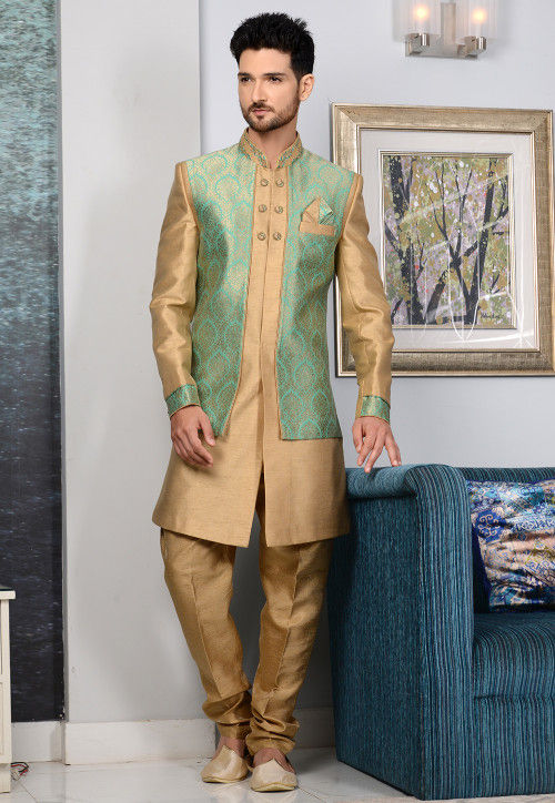 Woven Art Silk Jacket Style Sherwani in Teal Green and Beige