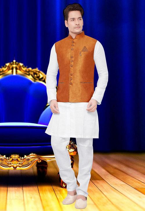 Plain Jute Silk Nehru Jacket in Orange
