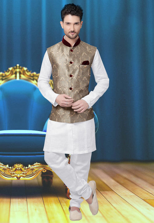 Brocade Nehru Jacket in Beige