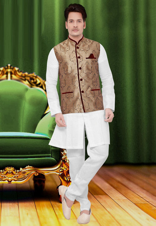 Brocade Nehru Jacket in Antique