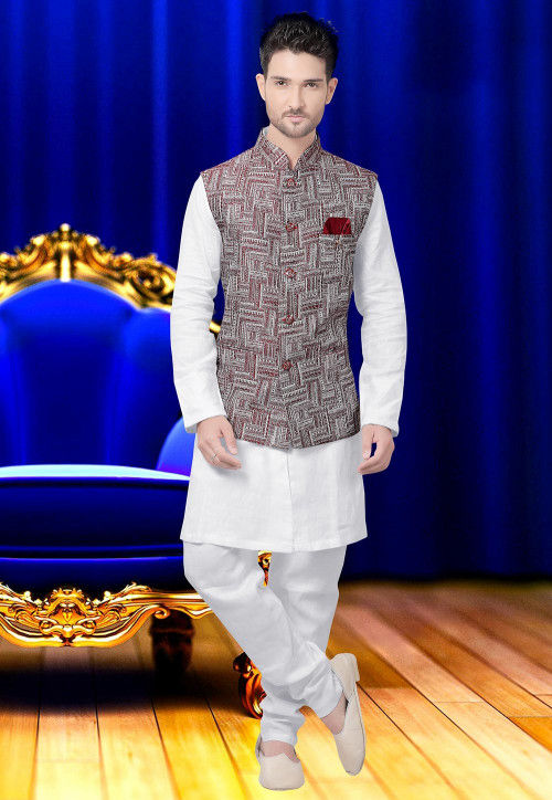 Woven Cotton Jacquard Nehru Jacket in White and Maroon