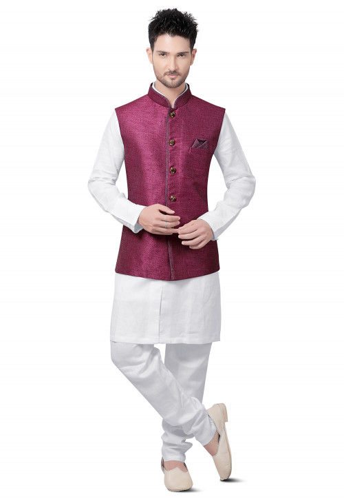 Plain Cotton Linen Kurta Jacket Set in White and Magenta