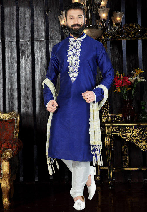 Embroidered Neckline Dupion Silk Kurta Pajama Set in Blue