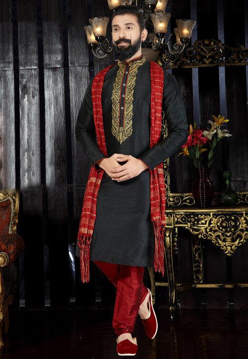 Embroidered Neckline Dupion Silk Kurta Pajama Set in Black