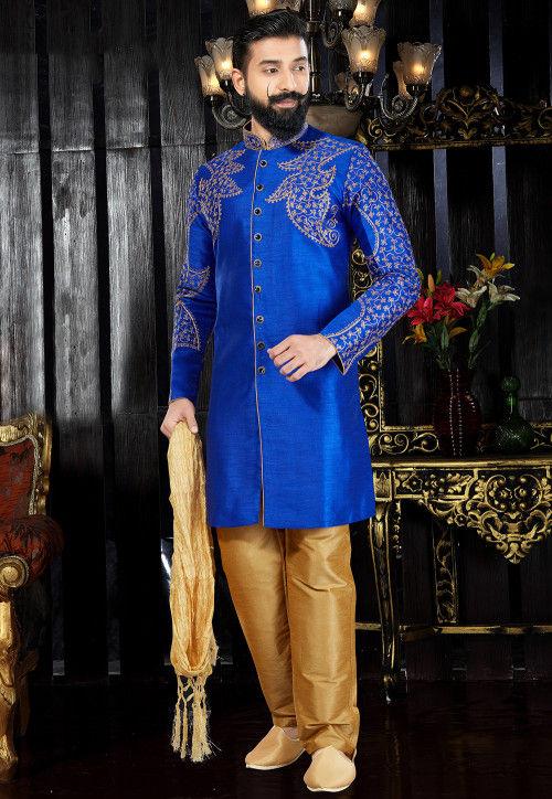 Embroidered Dupion Silk Sherwani in Royal Blue
