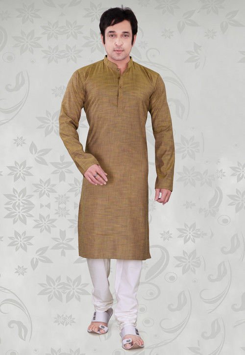 Plain Cotton Kurta Set in Light Brown