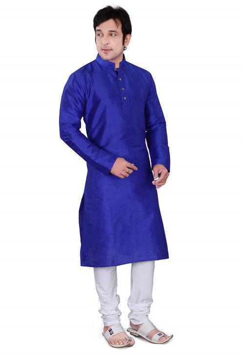 Plain Dupion Silk Kurta Set in Royal Blue