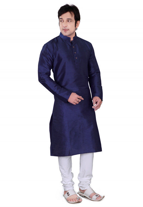 Plain Dupion Silk Kurta Set in Navy Blue