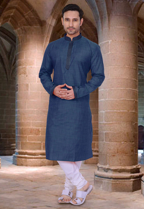 Embroidered Neckline Cotton Kurta Set in Dark Blue