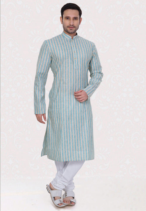 Printed Cotton Linen Kurta Set in Off White and Blue