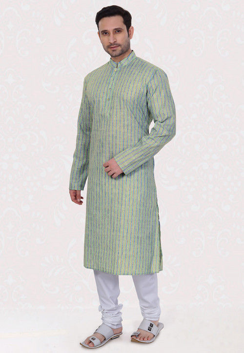 Printed Cotton Linen Kurta Set in Pastel Green and Blue