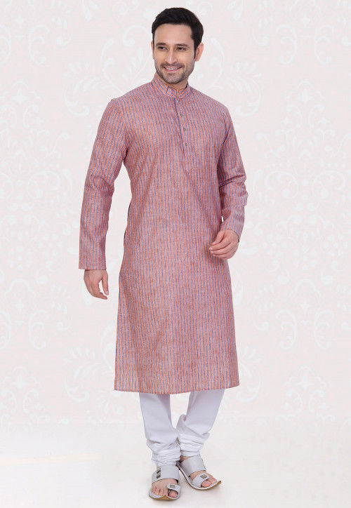 Printed Cotton Linen Kurta Set in Rust and Blue