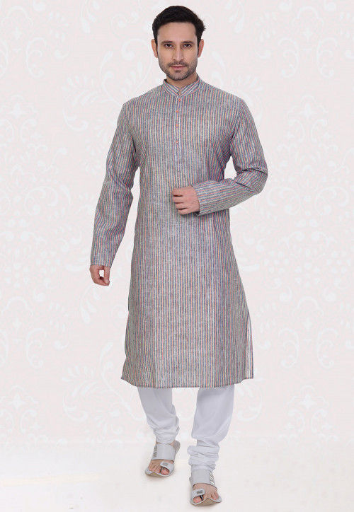 Printed Cotton Linen Kurta Set in Blue and Light Orange