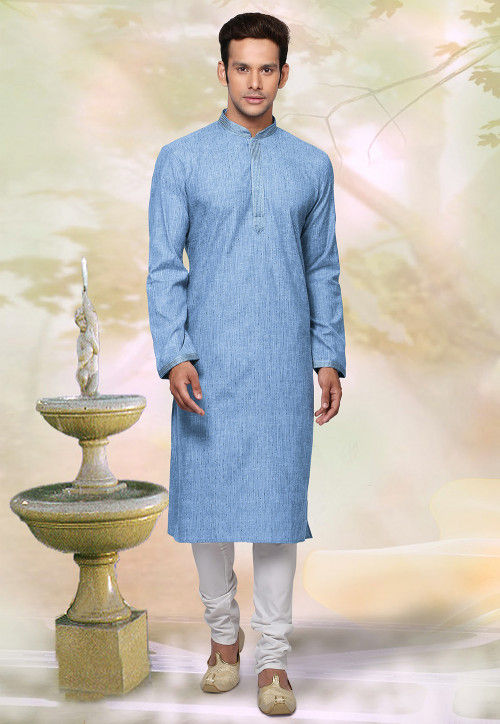 Woven Cotton Jacquard Kurta Set in Blue