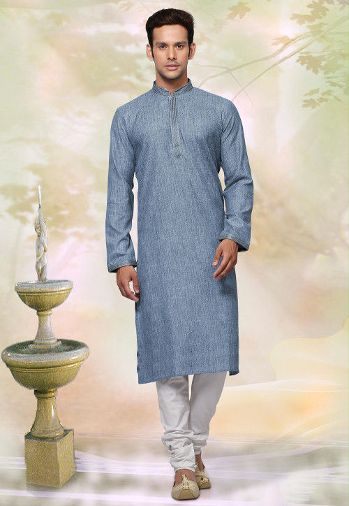 Woven Cotton Jacquard Kurta Set in Dusty Blue