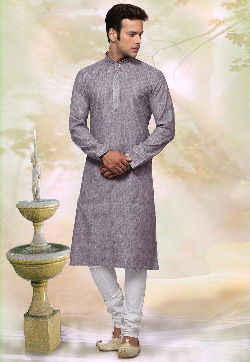 Woven Cotton Jacquard Kurta Set in Grey
