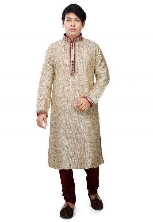 Woven Art Silk Jacquard Kurta Set in Light Beige