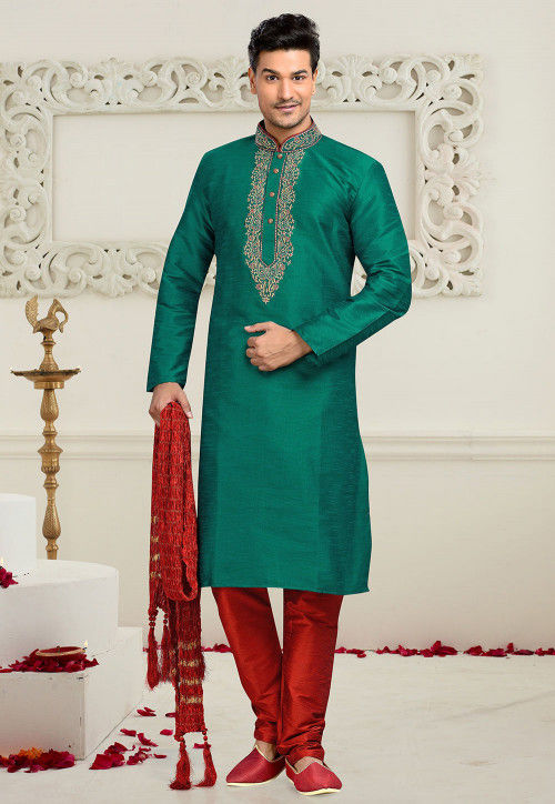 Embroidered Art Dupion Silk Kurta Set in Dark Teal Green