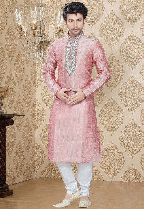 Embroidered Art Silk Kurta Churidar in Baby Pink