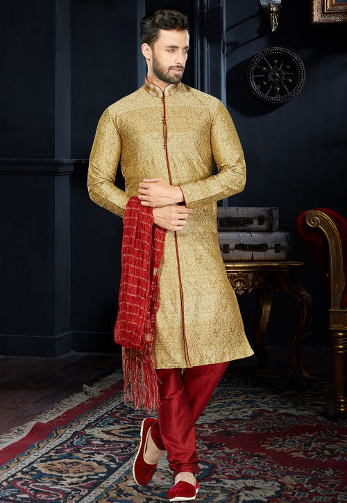 Embroidered Art Silk Jacquard Sherwani in Beige