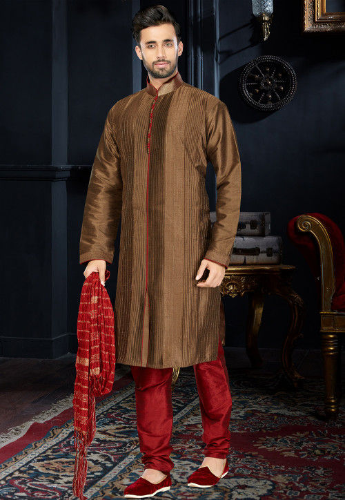 Embroidered Dupion Silk Kurta Set in Brown