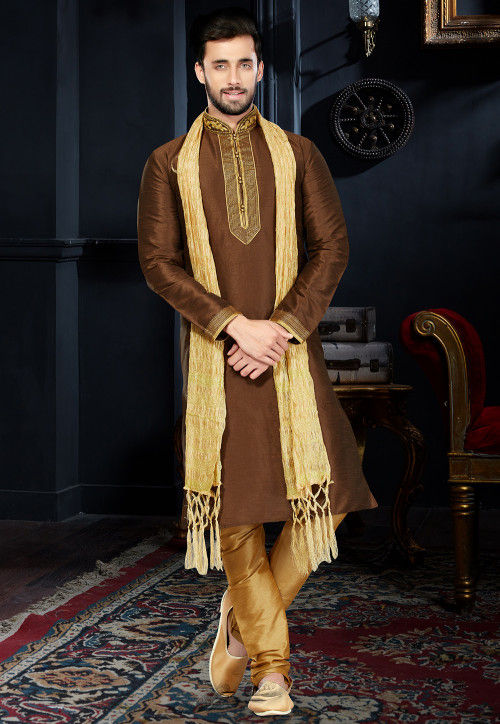 Embroidered Neckline Dupion Silk Kurta Set in Brown
