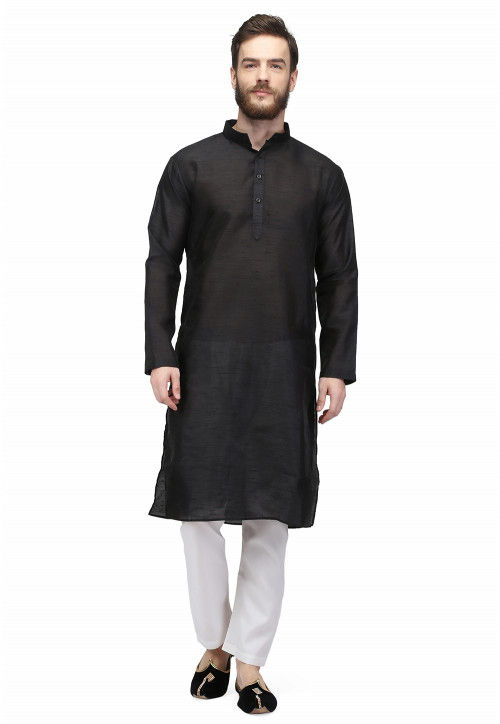 Plain Kurta Set in Black