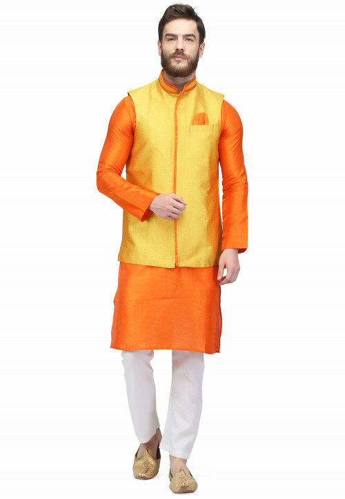 Woven Raw Silk Kurta Jacket Set in Yellow and Orange