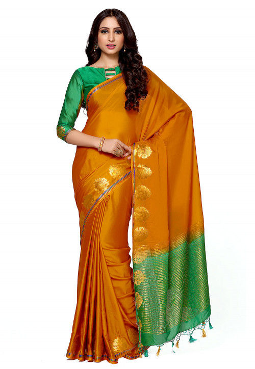 Mysore Crepe Saree in Mustard