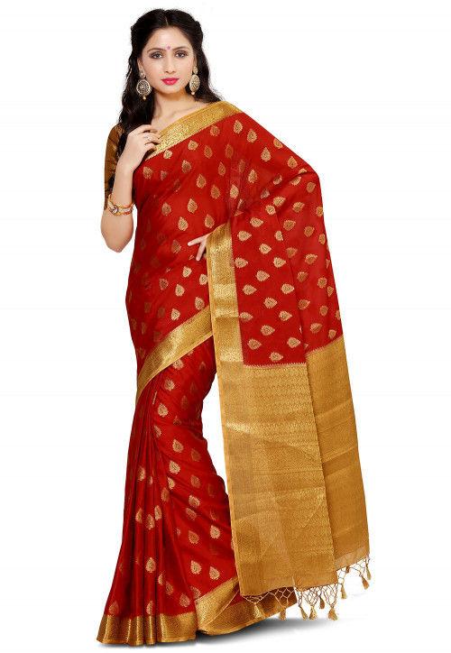 Mysore Crepe Saree in Red