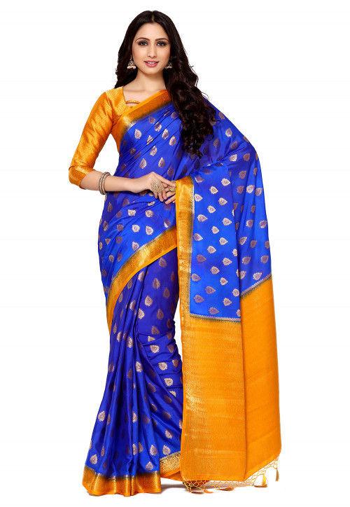 Mysore Crepe Saree in Royal Blue