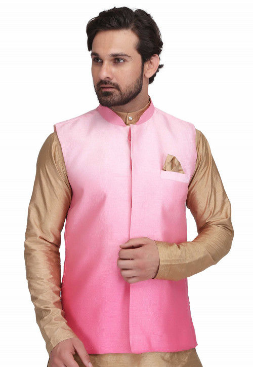 Ombre Art Silk Nehru Jacket in Pink