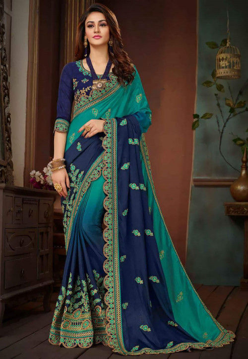 Ombre Art Silk Saree in Teal Blue and Navy Blue