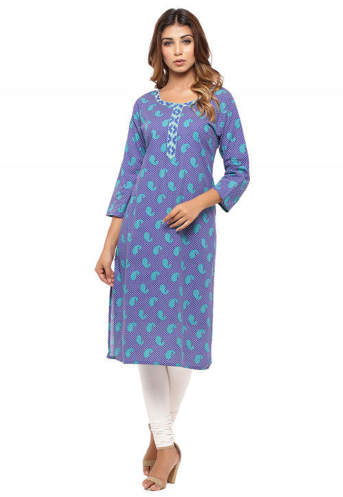 Paisley Printed Cotton Straight Kurta in Blue