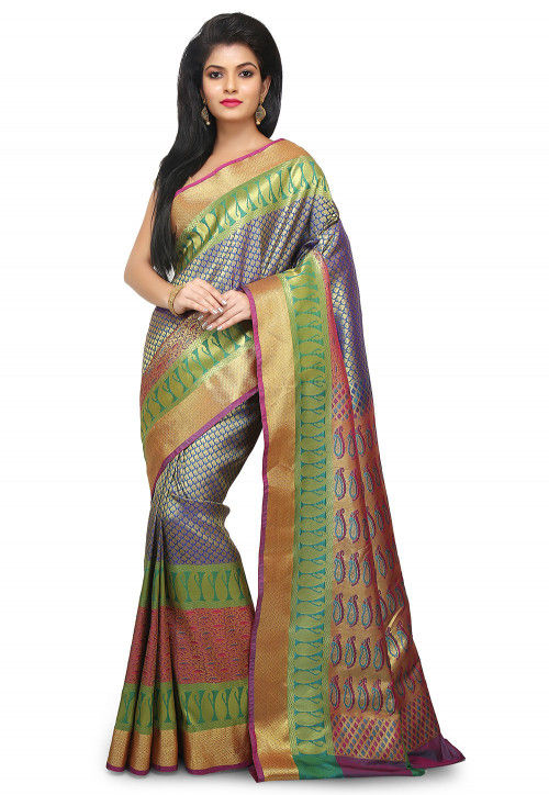 Paithani Saree in Blue and Golden