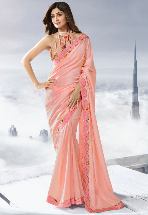 Patch Border Art Silk Saree in Peach : SSF9272