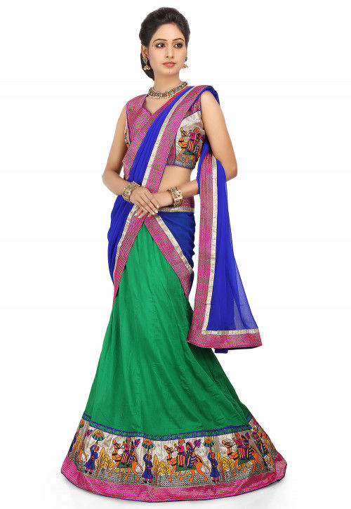 Patch Border Cotton Lehenga in Green