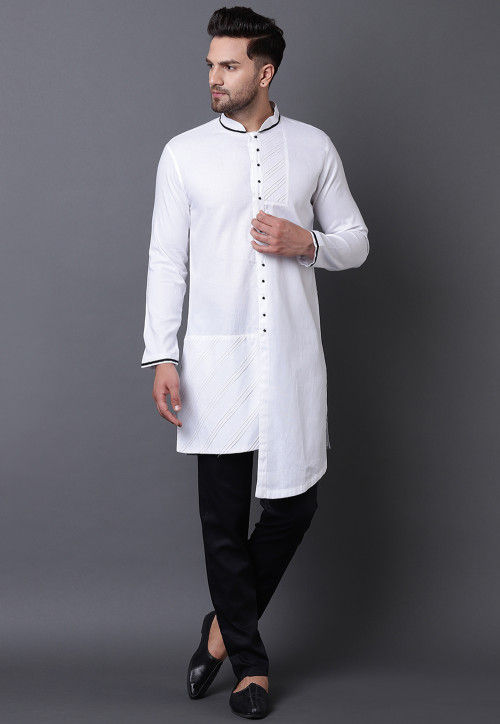 Pintucked Pure Cotton High Low Kurta Set in White