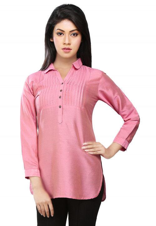 Pintucks Cotton Silk Top in Pink