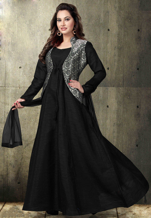 Plain Art Silk Abaya Style Suit in Black