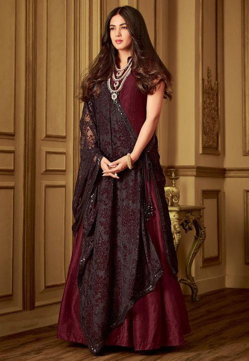 Plain Art Silk Abaya Style Suit in Maroon