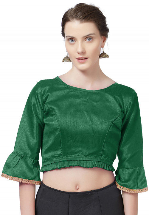 Plain Art Silk Blouse in Dark Green