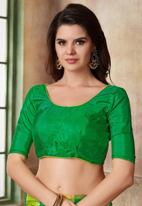 Plain Art Silk Blouse in Green